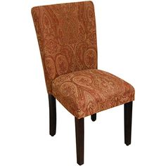 Classic Parson Red/ Gold Damask Fabric Dining Chair | Overstock.com Shopping - Great Deals on Dining Chairs