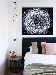 CIRCLE OF LIFE, splash acrylic colors technique, 100x120 board, in bedroom