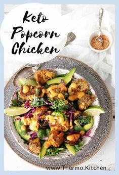 Keto Popcorn Chicken Salad recipe - Crunchy, spiced homemade chicken nuggets, served in a tasty green salad with chipotle mayonnaise & shaker sprinkles. Great Chicken Recipes, Chicken Salad Recipes, Dinner Dishes, Food Dishes, Recipes Dinner, Food Food, Easy Healthy Recipes, Low Carb Recipes, Savoury Recipes
