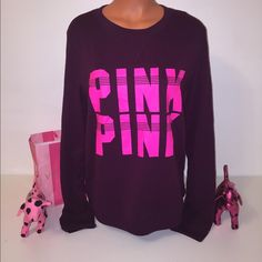NEW PINK VS LOGO SWEATSHIRT PINK VICTORIA'S SECRET PULLOVER SWEATSHIRT PULLOVER SWEATER DOUBLE LOGO IN THE FRONT. THIS IS A LIGHWEIGHT PULLOVER VERY COZY AND WARM. GORGEOUS PIECE!!!  COLOR MAROON/PINK SIZE S  FASTSHIPPING!!!  Check out my other items! I am sure you will find something that you will love it! Thank you for watch!!!!! Be sure to add me to your favorites list! PINK Victoria's Secret Tops Sweatshirts & Hoodies