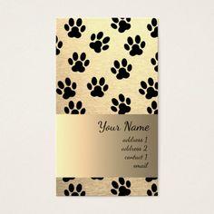 chic golden look pet paw prints pattern