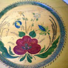 Vintage Scandinavian Wood Plate - Floral Folk Art SOLD