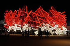2012-neon-sculpture art installation at the Olympic Park