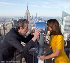 Peter Capaldi, the twelfth doctor, and Jenna Coleman, Doctor Who world tour, NYC.