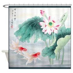 Designer shower. Cherry blossoms Japanese shower curtain Japanese decor Red and black bathroom curtain Asian decor Rising Sun
