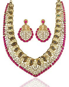 bc3f4913a62899 VVS Jewellers Pink Stone Gold Plated Ethnic Indian Bollywood Spacial Karva  Chauth Women Necklace Set: Material: Metal Metal Type : Gold Plated Care ...