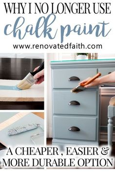 A Better Alternative To Chalk Paint (Best Type of Paint for Wood Furniture), DIY and Crafts, MIND BLOWN! Cost comparison & How to Tutorial! This easier alternative to chalk paint is much cheaper and the surface is much more durable. Refurbished Furniture, Farmhouse Furniture, Rustic Furniture, Antique Furniture, Modern Furniture, How To Paint Furniture, Painting Old Furniture, Repurposed Furniture, Diy Furniture Refinishing