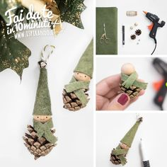 Create a Christmas elf by recycling pine cones- Christmas elves created with the recycling of pine cones Diy Christmas Elves, Christmas Crafts Sewing, Christmas Crafts For Kids To Make, Handmade Christmas, Christmas Tree Decorations, Pine Cone Art, Pine Cones, Pinecone Crafts Kids, Bohemian Christmas