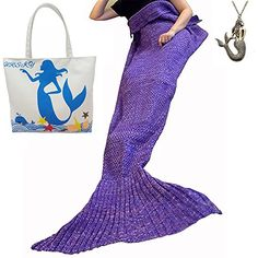 """URSKY Crochet Knitted Sofa Living Room Mermaid Tail Blanket, Cozy and Soft All Season Mermaid Tail Pattern Throw Sleeping Bag For Adult, Teens and Child, 71\""""x35.5\"""" Purple * For more information, visit image link."""