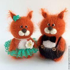 Купить Белкины. - оранжевый, белочка, белки, белка игрушка, вязаная игрушка, вязаная белка
