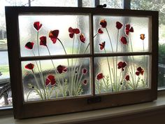 Red Poppy Fused Glass Antique Window with Poppies. $350.00, 31 by 20