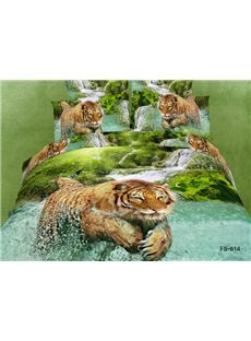 Tiger in Water Animal Print 4 Piece Bedding Sets