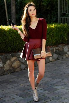 leather skirt with burgundy top