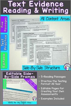 Help your students gain familiarity and proficiency with the testing format. Use the editable Text Evidence Reading and Writing Frames all year long to help you assess your students while they practice the side-by-side testing format. Five reading passages and keys, editable pages, and tips are included in this practical and essential classroom tool. Middle School Teachers, Back To School, Upper Elementary, Elementary Math, Text Evidence, Classroom Games, Teaching Language Arts, Spelling Words, Reading Passages