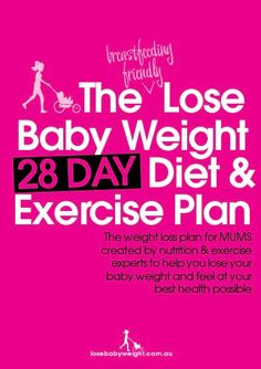 The {breastfeeding friendly} Lose Baby Weight 28 Day Diet & Exercise Plan :: Post-baby tips & tricks Fitness Motivation, Fitness Diet, Health Fitness, Fitness Quotes, Workout Fitness, Fitness Weightloss, Body After Baby, Post Baby Body, Post Baby Diet
