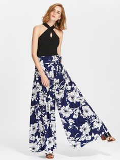 Self Belted Pleated Floral Palazzo Pants -SheIn(Sheinside)