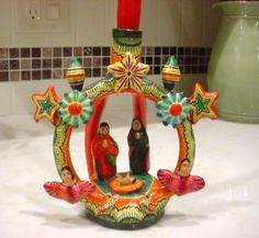 MEXICO-MEXICAN-Pottery-NATIVITY-SCENE-CANDLE-HOLDER-Folk-Art