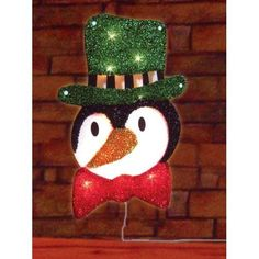 """16"""" Lighted Tinsel Penguin in Top Hat Christmas Window Silhouette Decoration"""