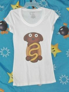 Cute funny cartoon Hot Dog Puppy kawaii shirt tshirt cap sleeve white women M