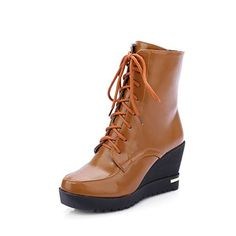 AmoonyFashion Womens Round Closed Toe High Heels Low Top Solid Boots with Metal Piece Brown 40 * Continue to the product at the image link.