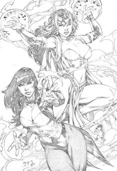 Zatanna and Scarlet Witch by Ed Benes Comic Art
