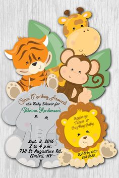 Safari baby shower invitations jungle baby shower invitations monkey jungle baby shower invitations safari baby shower invitation giraffe jungle invitations baby shower invitation for boy invitations filmwisefo Image collections