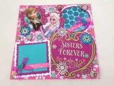 Disney Frozen Anna Elsa Olaf Birthday Winter Snowflakes 12x12 Premade Scrapbook Page by KARI