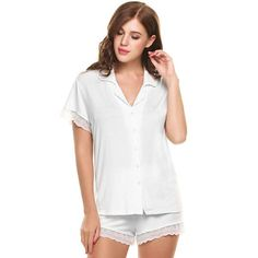 Short Sleeve Pajama Set Women Sleepwear Loungewear Lace Patchwork Slim Nightwear Knit Slim Pajamas Set