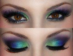peacock color eyeshadow! I want her eyelash length and makeup skills!!