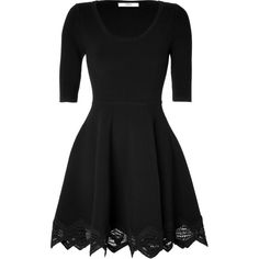 PRABAL GURUNG Cashmere-Wool Lace Trim Dress in Black (€710) ❤ liked on Polyvore featuring dresses, vestidos, short dresses, black dresses, mini dress, short black cocktail dresses, crochet mini dress and cashmere dress