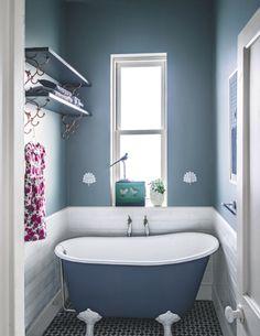Bathroom | Clever design | Compact bath | Metro tiles | Blue | Decorative flooring | Victorian bath | Modern | Livingetc