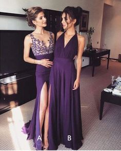 Grape Prom Dress,Split Prom Dress,Fashion Prom Dress,Sexy Party