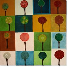 A quilt possibly: Appliqued trees, maybe with embroidered leaves.
