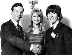 the Harrisons and Lennon's secret lover, probably (Brian Epstein)