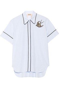 No. 21 Embellished cotton-poplin shirt NET-A-PORTER.COM