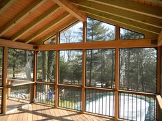 Architecture Inspiration. Invigorating Screen Porch Ideas Interior And Exterior View Photos: Amazing Brushed Bronze Frames Custom Screen Porch Ideas For Covers Plans Decks Of Fairfield Added Wooden Sloping Ceiling And Faux Wood Deck Floors Designs