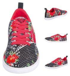 """Desigual Damen FUN EVA Sneakers grau / rot | 08434101606793"" by modeonlinemarkt on Polyvore featuring Mode, sneakers, desigual und Damen"