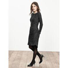 Banana Republic Womens Shirred Gray Knit Dress Size XS - Light gray ($88) ❤ liked on Polyvore featuring dresses, long sleeve knit dress, grey dress, crew neck dress, shirred dress and longsleeve dress