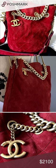 """Guaranteed Authentic Chanel - last price drop! Guaranteed Authentic Chanel red wine suede hobo shoulder/crossbody bag. Fall 2016 limited edition. Size 8""""L x 11""""H x 5""""W CHANEL Bags Crossbody Bags"""