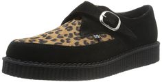 TUK A8141 Black Suede Leopard Print Cowhide Pointed Creeper Shoes Women 7 Men 5 #TUK #Creepers