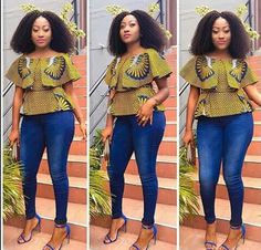Creative Ankara Tops on Jeans for Beautiful Ladies.Creative Ankara Tops on Jeans for Beautiful Ladies African Dresses For Women, African Print Dresses, African Attire, African Wear, African Women, African Prints, African Style, African Fashion Designers, African Fashion Ankara