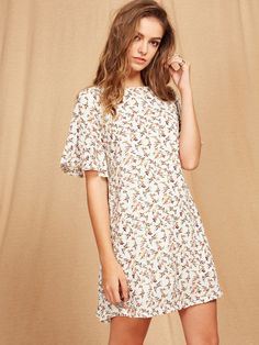 Shop Flutter Sleeve Ditsy Dress online. SheIn offers Flutter Sleeve Ditsy Dress & more to fit your fashionable needs.