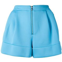 3.1 PHILLIP LIM high waist pleated shorts (766.220 COP) ❤ liked on Polyvore featuring shorts, bottoms, pants, шорты, blue, 3.1 phillip lim shorts, highwaist shorts, high waisted pleated shorts, high waisted zipper shorts and zipper shorts