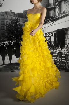 Love this yellow gown and the frilly feminine emblishments. Reem Acra Resort 2012
