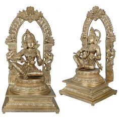 Bronze made Devi Annapurna sculpture in the form of Hoysala Art. Annapurna is an aspect of Devi and is known as Hindu goddess of food and nourishment. Worship and offering of food are highly praised in Hinduism, and therefore, the goddess Annapurna is regarded as a popular deity. Hindu Statues, Sculptures, Lion Sculpture, Hinduism, Deities, Worship, Bronze, Popular, Food
