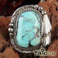tskies.com Large Light Blue Turquoise Silver Ring by Joe Tso 10.5 - Turquoise Skies