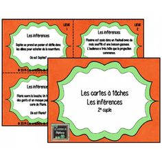 Les cartes à tâches : Les inférences Education And Literacy, French Resources, French Immersion, French Class, Teaching French, Elementary Math, French Language, Teaching Reading, Anchor Charts