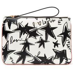 Lanvin Black and White Star Print Clutch (32.745 RUB) via Polyvore featuring bags, handbags, clutches, lanvin, print handbags, lanvin handbag, star purse и black white handbags