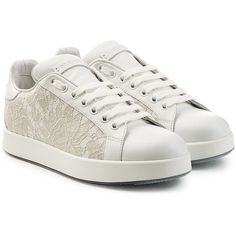 Dolce & Gabbana Leather Sneakers (€370) ❤ liked on Polyvore featuring shoes, sneakers, white, white trainers, white leather sneakers, leather shoes, leather footwear and genuine leather shoes