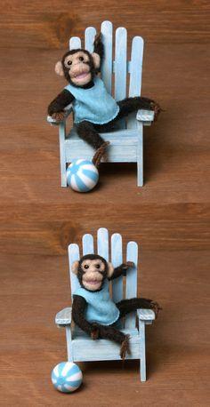 Sweet Little Needle-Felted Miniature Chimpanzee by DinkyWorld on Etsy